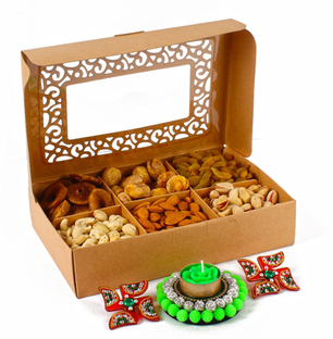 Assorted Dryfruit with Floating Diya And Shubh Swastika