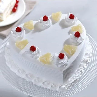 Fresh Heart Shaped Pineapple Cake Home Delivery