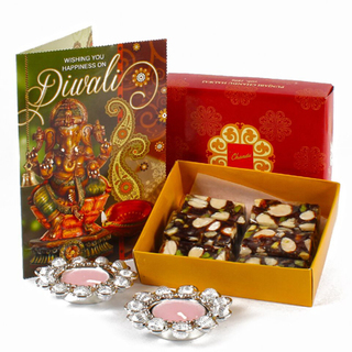 Sugarfree Sweets with Metal Diya and Greeting Card