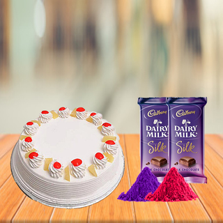 Pineapple Cake and Cadbury Silk with Free Gulal