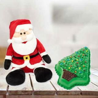 Christmas Cake & Santa Soft Toy