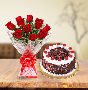 Valentine Roses and Blackforest Cake