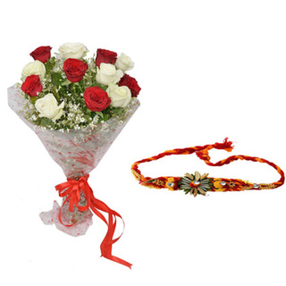 Rakhi with Mixed Roses