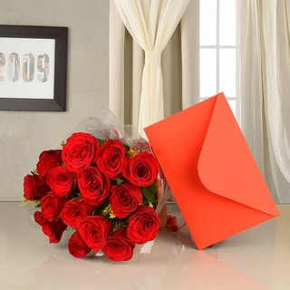 Red Roses With Greeting Card