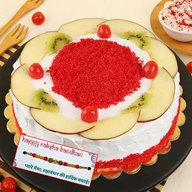 Red Velvet Fruit Punch Cake with Rakhi