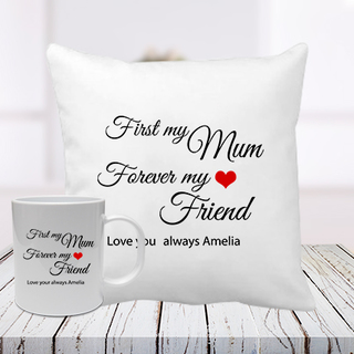 Mum and Friend Cushion Mug Combo