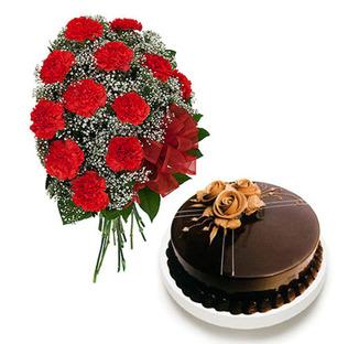 Red Carnation & Cake
