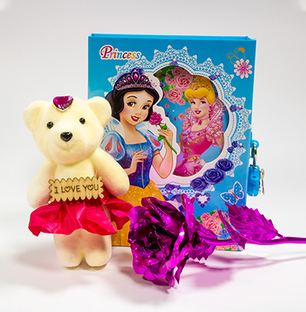 Purple Rose, Teddy and a princess Diary Combo