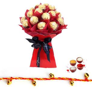 Ferrero Rocher Bouquet with Rakhi