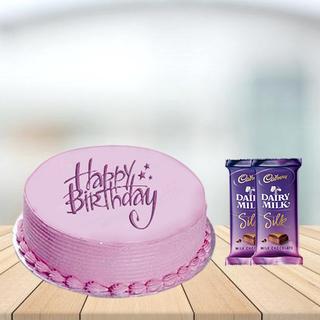 Pink Strawberry Cake with Cadbury Silk Combo