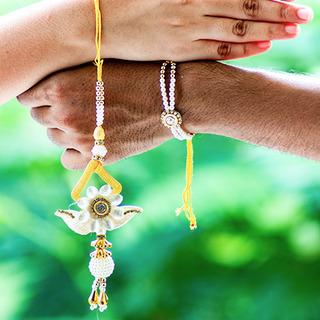 Ethnic Yellow Rakhi Loomba Set