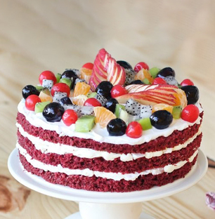 Exclusive Red Velvet Cake with Fruits