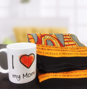 Designer Saree with Photo Mug