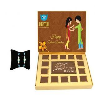 Rakhi chocolate box with Blue Stone Rakhi