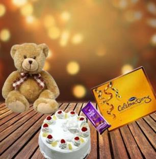 Cake, Teddy and Assorted Chocolates