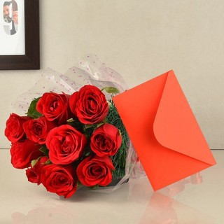 Red Roses and Greeting Card Combo