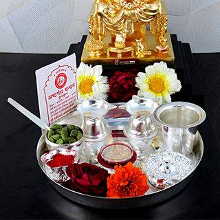 Diwali Silver Puja Thali