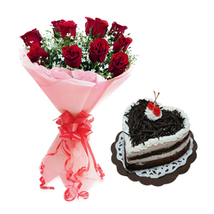 Valentine Red Roses & Heart Shape Black Forest Cake
