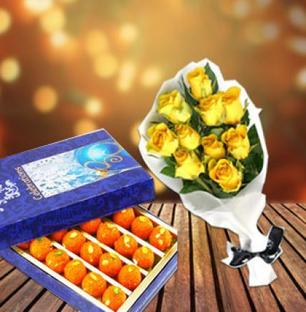 Yellow Roses With Ladoo