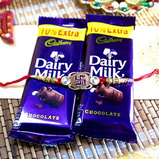 Swastika Rakhi with Dairy Milk Chocolates