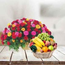 Mixed Roses with Fruits Basket