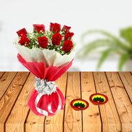 Diwali Red Roses with Diya