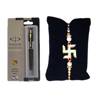 Swastik Rakhi with Parker Ball Pen