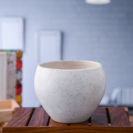 Apple Marble Finish Round Ceramic Pot (White)
