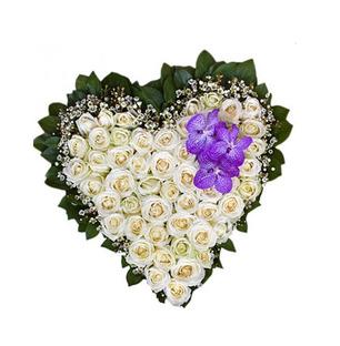 White Roses Heart Arrangement