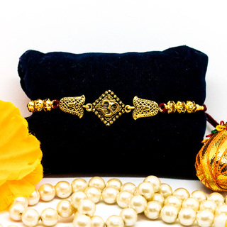 Exquisite OM Golden Rakhi