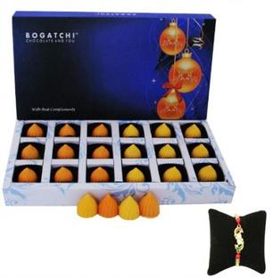 Fruit Modak Chocolate Box with Kundan Rakhi