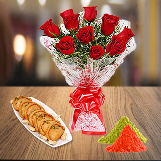 Red Roses and Gujiya with Holi Colors