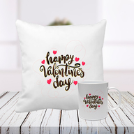 Happy Valentine Day Cushion and Mug Combo