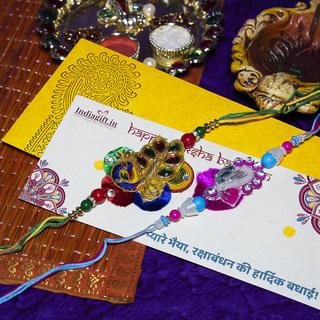 Colourful Peacock Rakhi Set