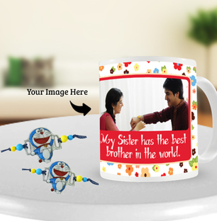Doraemon Rakhi with Rakhi Photo Mug