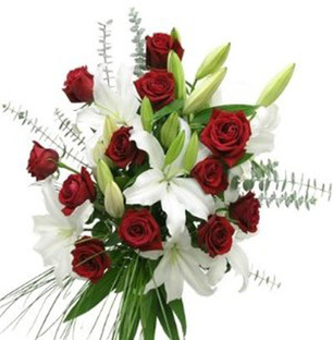Valentine Red Roses & White Lilies