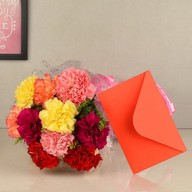 Mixed Carnation Bouquet and Card