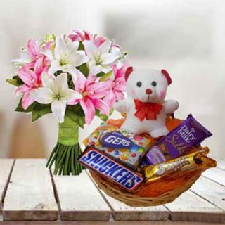 Lily, Teddy & Chocolate Basket