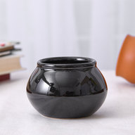 Handi Shape Round Ceramic Pot (Black)