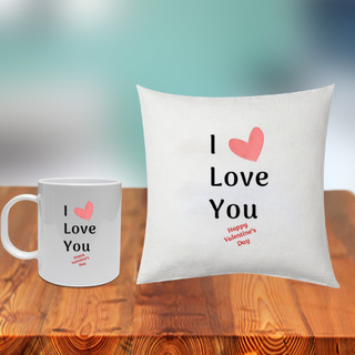 I Love You Cushion and Mug