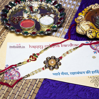 OM Pearl Rakhi Sets