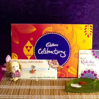 Rakhi chocolate box with 2 Mix Rakhi