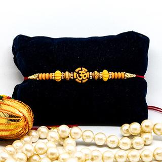 Exquisite OM Wooden Rakhi