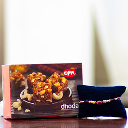 Pearl and Bead Rakhi with Doda Barfi