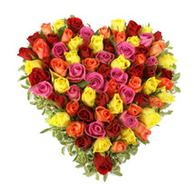 Valentine Mixed Roses Heart