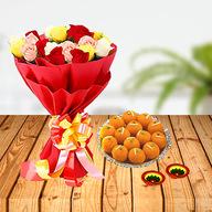 Diwali Flowers and Laddoo Combo