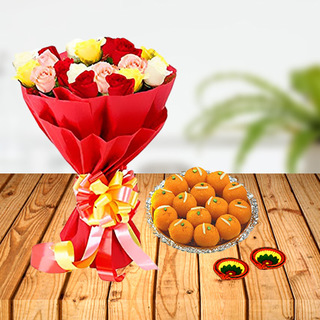 Diwali Flowers and Laddoo Combo
