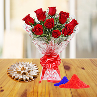 Red Roses and Kaju Katli with Holi Colors