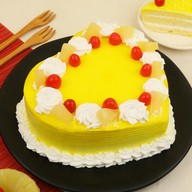 Premium Heart Shape Pineapple Cream Cake