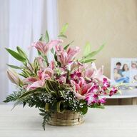 Basket of Pink Lilies